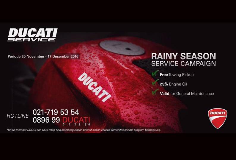 Ducati Gelar Diskon Gede-gedean di Program Rainy Season Service